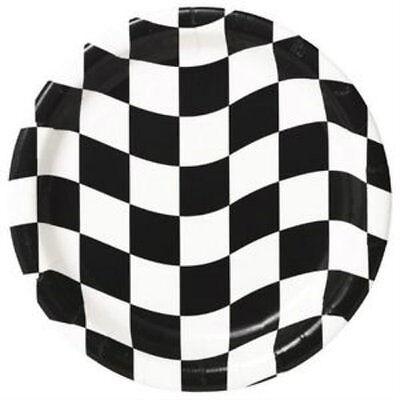 Checkered Flag Dessert Plates - Birthday Party Supplies - Checkered Flag Paper