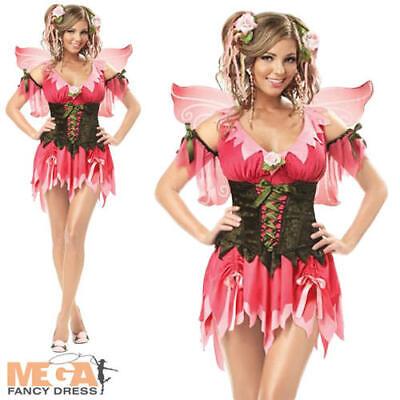 Deluxe Rose Fairy Fancy Dress Fairytale Ladies Eye Candy Costume + Wings