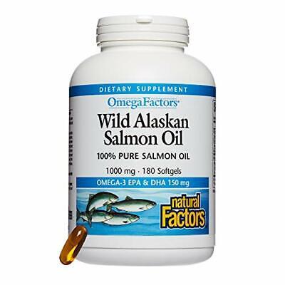 FISH OIL SUPPLEMENT Wild Alaskan Salmon Omega 3 EPA DHA 180ct By NATURAL FACTORS - $24.64