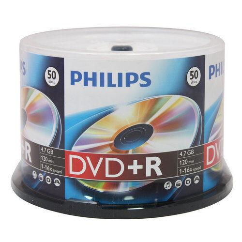 50 Philips 16x Dvd+r Dvdr Blank Disc Storage Media 4.7gb 120min With Cake Box