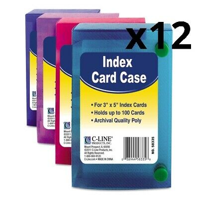 Index Card Case Holds 100 3 X 5 Cards Polypropylene Assorted Pack Of 12