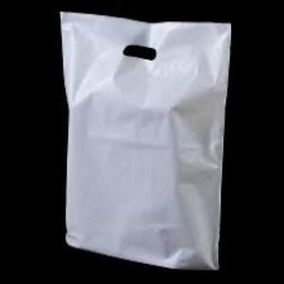 Carrier Bags White Patch Handle Gift Shopping Plastic Bags - 200 x  15 x 18 + 3