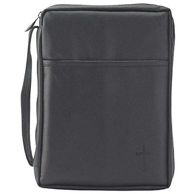 Black Pocket  Leather Like Vinyl Bible Cover Case with Handle Medium Blk Leather Like Cover