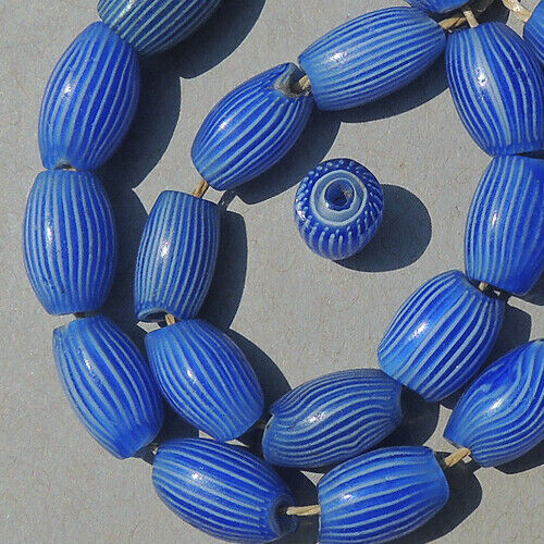20 old antique venetian 5 layer oval striped fancy beads african trade #1884