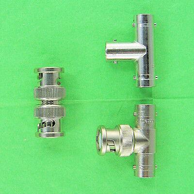 Set Of 3 Bnc Adapters 1 Tee F-f-f 1 Tee M-f-f 1 Inline M-m Coupler Union