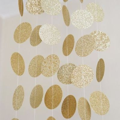 10 Ft Gold Silver Glitter Circle Dots Paper Garland Party Home Decoration Banner - Gold Garland