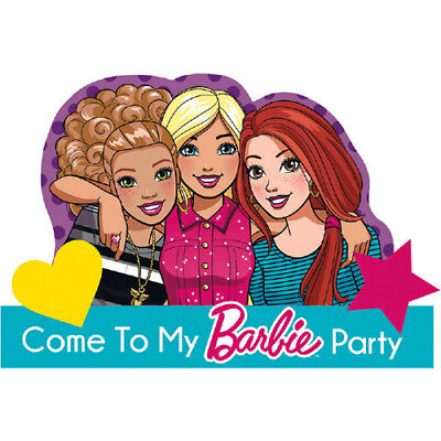 - BARBIE AND FRIENDS INVITATIONS (8) ~ Birthday Party Supplies Stationery Cards