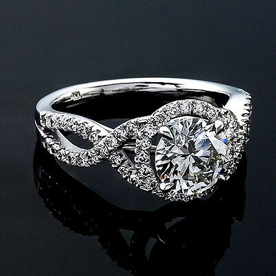 1 CT Diamond Engagement Ring Round Cut D/SI 14K White Gold Enhanced