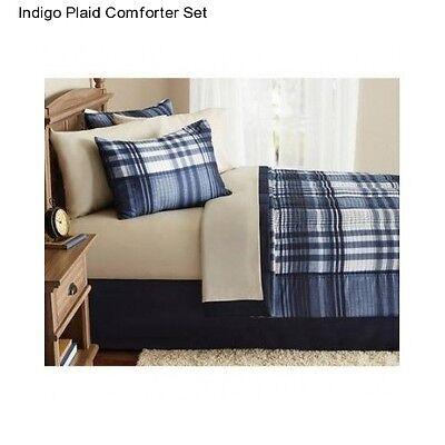 Indigo Plaid Queen Size Comforter Set Bedding Bedspread Bed
