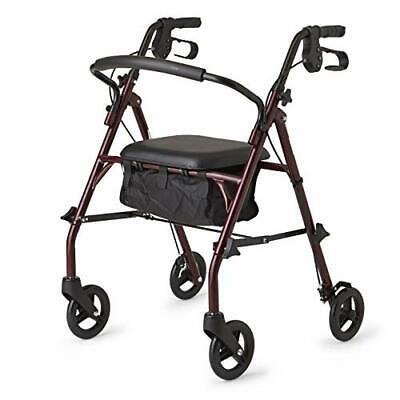 Rollator Walker With Seat 4 Wheels Bag Rolling Folding Adult