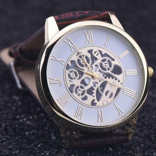 Hot Luxury Skeleton Stainless Brown Leather Men Women Dress Fashion Quartz Watch