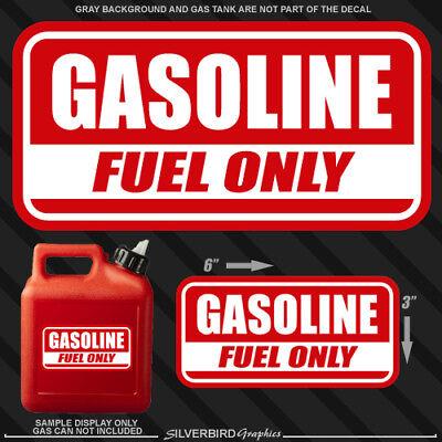 """1x Gasoline gas Fuel Only sticker door decal truck label tank vinyl safety 6"""""""