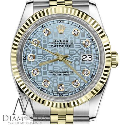 Ice Blue Rolex Logo Face 26mm Datejust 18K & SS 2 Tone Diamond Accent Jubilee