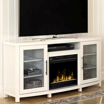 Electric Fireplace TV Stand White Media Wood Console Heater Entertainment Center ()