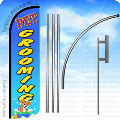 Pet Grooming - Windless Swooper Flag 15 Kit Feather Banner Sign - Bq