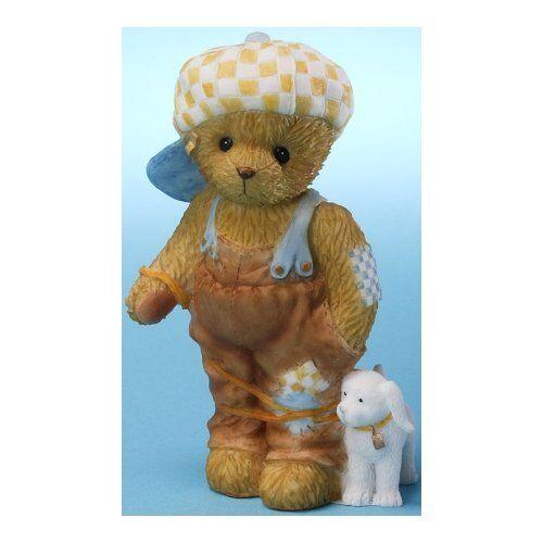 Cherished Teddies BOY TEDDY BEAR TANGLED IN LEASH WITH DOG Figurine NIB
