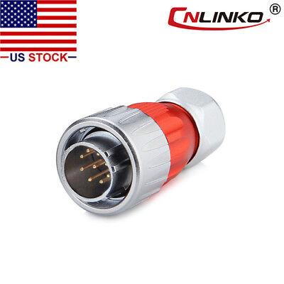 9 Pin Power Signal Connector Male Plug Outdoor Waterproof Ip67 Metal Housing