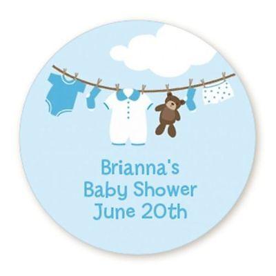 Blue Clothesline It's A Boy - Round Personalized Baby Shower Sticker - 6 sizes (Baby Shower Clothesline)