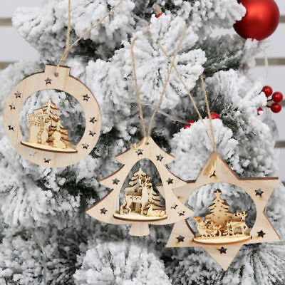 Cute Wooden Christmas Rustic Tree Hanging Ornament Xmas Snowflake Home Decor - Snowflake Hanging Decorations