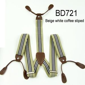 New Adjustable Mens 3.5 CM Width 6 Button holes unisex Suspenders Braces BD7H