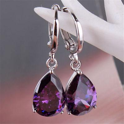 New Fashion Jewelry Women Amethyst 925 Silver Ear Stud Dangle Hoop Earrings