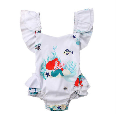 NEW Disney Princess Ariel Little Mermaid Baby Girls White Ruffle Romper Sunsuit