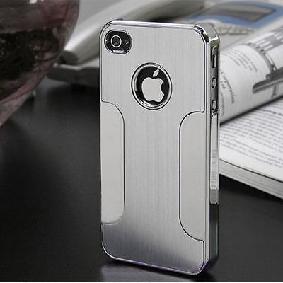 BRUSHED ALUMINIUM BACK CASE COVER FITS IPHONE 5 5S 5C 4 4S FREE SCREEN PROTECTOR