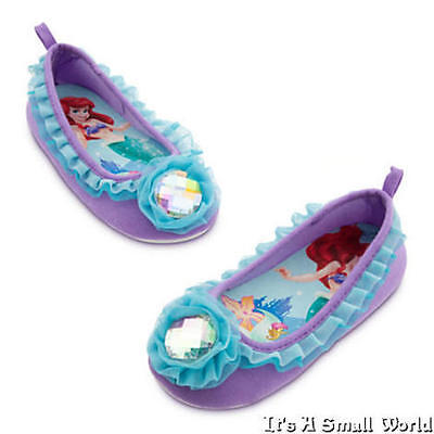 Disney Store Ariel Deluxe Gem Slippers for Girls Purple Size 2-3 - Disney Ariel Shoes