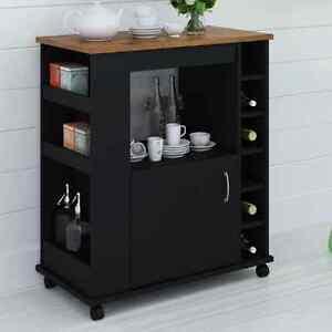 Liquor Cabinet Wine Bar Wood Kitchen Cart Island Black Table Bottle Holder Tea