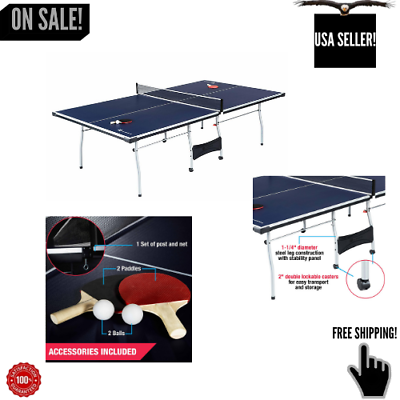 Official Size Ping Pong Table Tennis Indoor Foldable Paddles