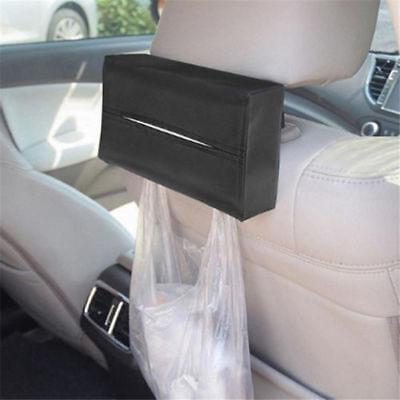 1pc Leather Tissue Box Cover Pumping Paper Hotel Car Home Napkin Holder Case QP Black Tissue Box
