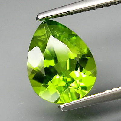 7x5mm PEAR-FACET STRONG APPLE-GREEN NATURAL AFGHAN PERIDOT GEMSTONE