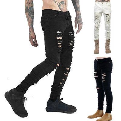 Men's Slim Skinny Runway Straight Elastic Denim Pants Destroyed Ripped Jeans USA
