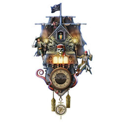 DISNEY PIRATES OF THE CARIBBEAN Illuminated Wall Cuckoo Clock NEW
