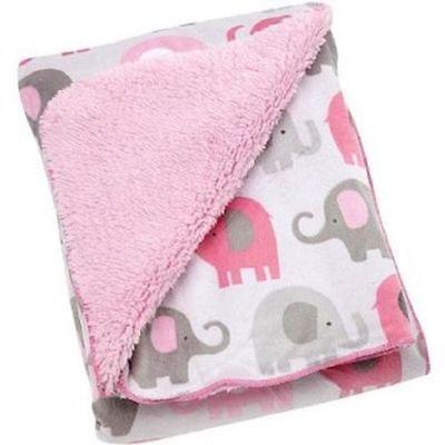 Soft Little Bedding Elephant Time pink Velboa Blanket Plush Fleece Safari baby