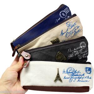 Vintage-Canvas-Paris-Pen-Pencil-Case-Coin-Purse-Pouch-Zipper-Bag-Cosmetic-Makeup