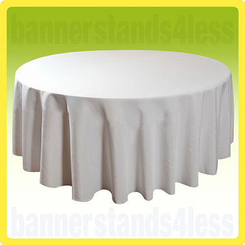 """132"""" Round Tablecloth Table Cover Wedding Banquet Event - WHITE"""
