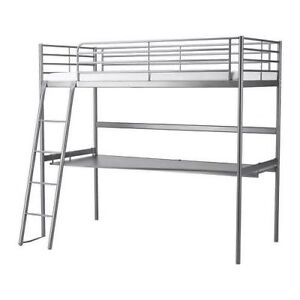 Ikea Loft Bed Frame - Silver with desk