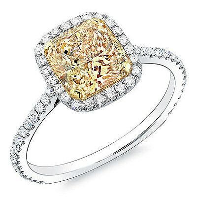 2.50 Ct Radiant Cut Canary Fancy Yellow Halo Diamond Engagement Ring VS2 GIA 18K