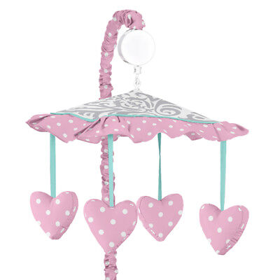 Sweet Jojo Musical Mobile For Turquoise Pink Gray Damask Skylar Crib Bedding -