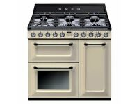SMEG TR93P Triple Cavity Dual Fuel Range Cooker - Cream and Black
