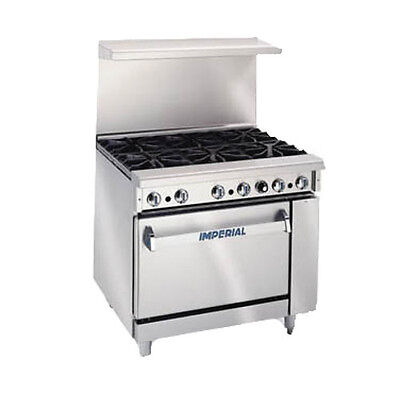 Imperial Ir-6-c Six Burner 36 Gas Restaurant Range With Convection Oven