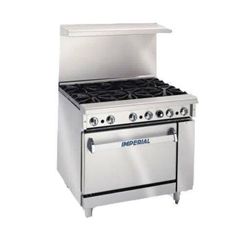 "Imperial Ir-6 Six Burner 36"" Gas Restaurant Range"