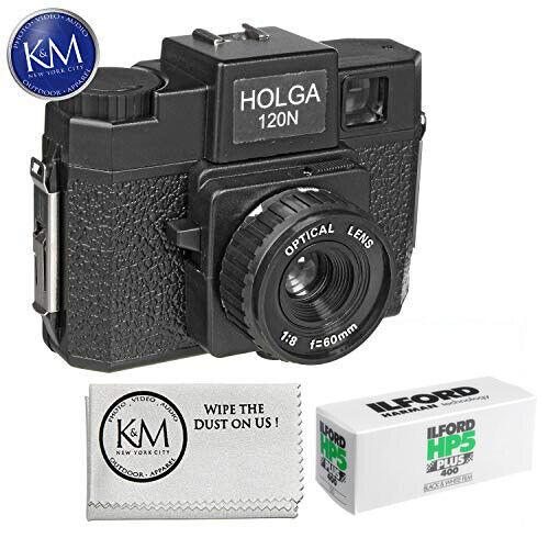 Holga 120N Medium Format Film Camera (Black) with Ilford HP5 Plus Black and Whit