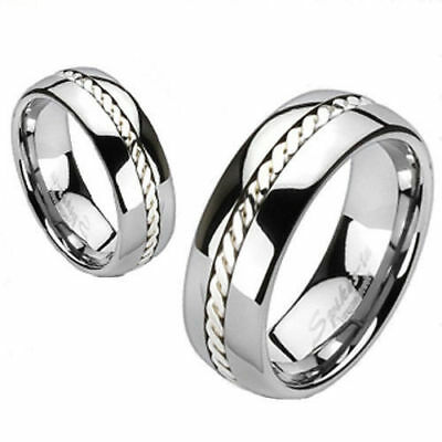Silver Rope Inlaid Tungsten Mens Wedding Ring w/Comfort Fit Band Size 8 Men's Comfort Fit Rope Ring
