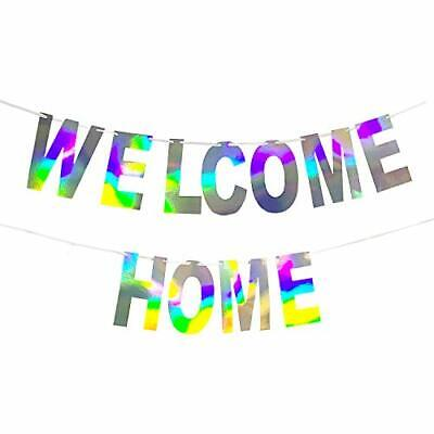Holographic Welcome Home Banner Decorations Sing Iridescent Hanging Bunting S...