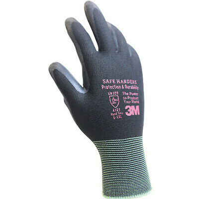3M Safe Handers 512 Gray Nitrile Foam Coated Work Safety Gloves (10 Pairs) S i