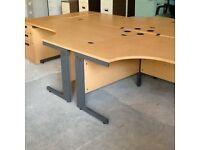4 Beech L Shape Desks & Filing Pedestals