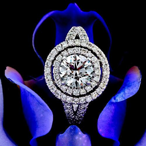1.65 CT ROUND CUT DIAMOND HALO ENGAGEMENT RING 14K WHITE GOLD ENHANCED