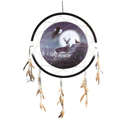 """Giant 26"""" Night Eagle Deer Buck Wolf Nature Scene Dream Catcher Feathers 2656"""